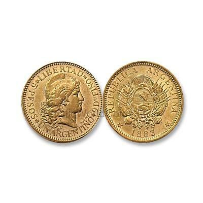 Argentina 1883 Liberty head 5 Pesos Gold Coin SKU#6908