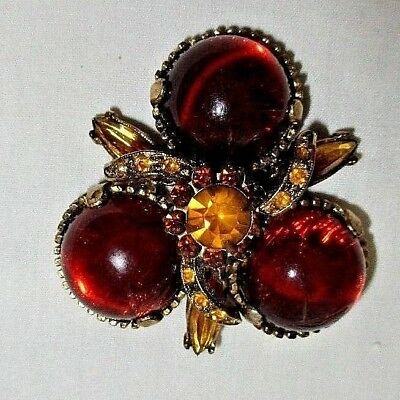 Vintage Antique Goldtone/gold/sienna Lucite Stone Victorian Style Pin