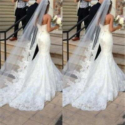 White Lace Wedding Veil Bridal Veil Long Tulle Cathedral Wedding Accessories