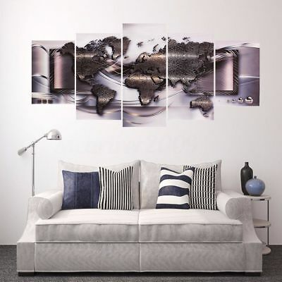 5 Pcs/Set Modern Abstract Wall Art Painting World Map Canvas Painting Home Decor