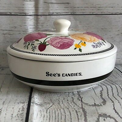 Sees Candies Ceramic Floral Candy Dish with Lid and Box Roses EXCELLENT!