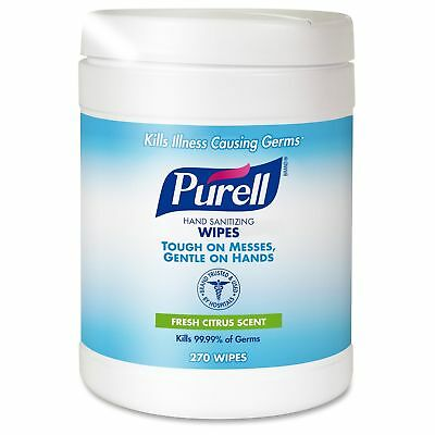 "PURELL Sanitizing Hand Wipes, 6 x 6 3/4"", White, 270 Wipes/Canister"