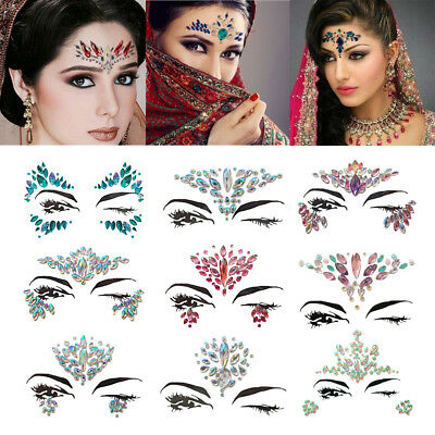 Glitter 3D Crystal Face Tattoo Adhesive Rhinestone Jewel Festival Party  Stickers 75ac63de7104