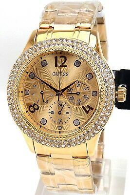 5706c6f07606 Guess Watch Ladies Watch Multi Function W1097L2 Bedazzle Gold Wristwatch New