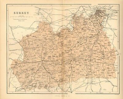 original 1868 colour map of the county of surrey