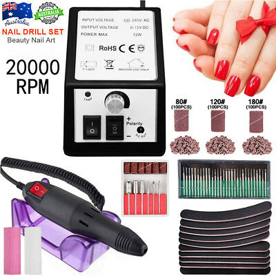 Electric Nail File Drill Kit Manicure Pedicure Salon Machine Set 36 Bit 300 Band