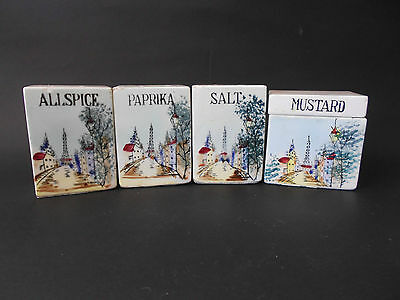 Vintage Ceramic Spice Set 4 Pces 1950s Eiffel Tower/Paris Design