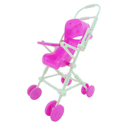 Assembly Baby Stroller Trolley Nursery Furniture Toys For Barbie Doll Dollhouse