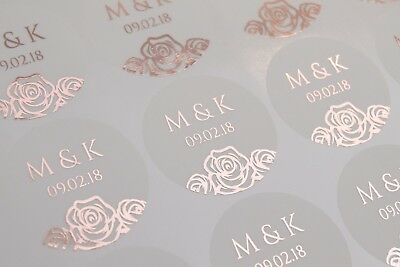 Foil wedding stickers personalised Frosted /semi transparent & other colours D12