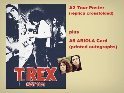T.Rex / Marc Bolan - A2 Tour Poster May1971 (replica crossfolded) + A6 Card