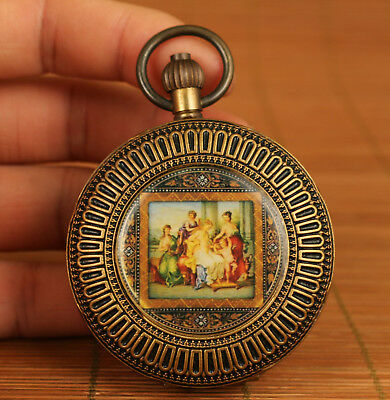 rare copper inlay cloisonne hand Machinery figure statue royal pocket watch