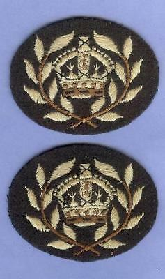 Pair of Canadian Women's Army Corps CWAC WO Sleeve Rank Badges WWII