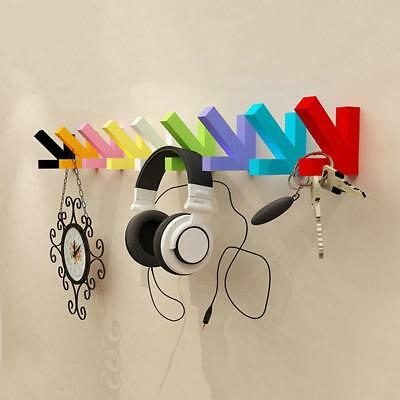 Wall Mounted Wood Hook Hanger Hat Coat Door Clothes Rack Colorful Home Organizer