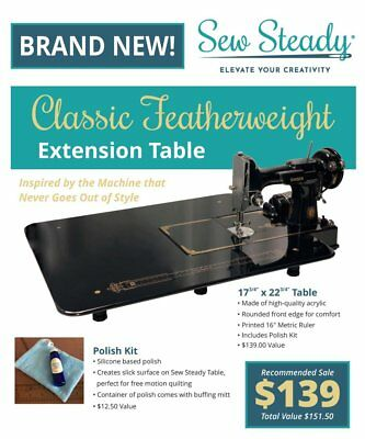 "Sew Steady ""Black Classic Table"" for the Black SINGER 221k Featherweight Machine"