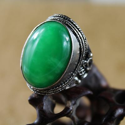 Chinese Hand carved natural Green Jade Ring Banzhi, handmade Applique Ring A0030