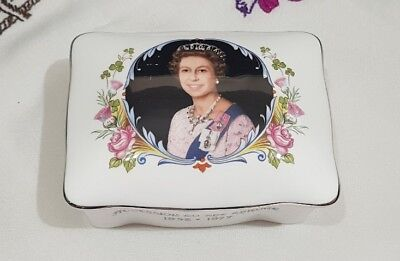 Crown Staffordshire - Queen Elizabeth II Silver Jubilee 1977 Trinket Box - vgc