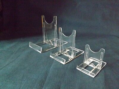 Adjustable Plate Display Stand Twist Fix Clear Acrylic 3 Sizes.Multi Packs.