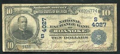 1902 $10 The National Exchange Bank Of Roanoke, Va National Currency Ch #4027