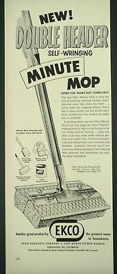 """Vtg. 1959 Ecko Minute Mop Print Ad (14""""x5.25"""") Houshold Decor made on Chicago 1A"""