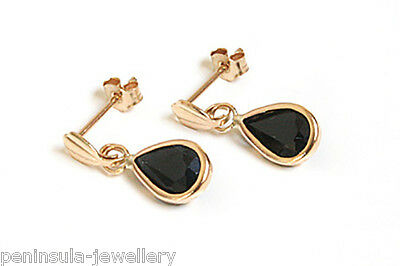 9ct Gold Sapphire teardrop earrings Made in UK Gift Boxed