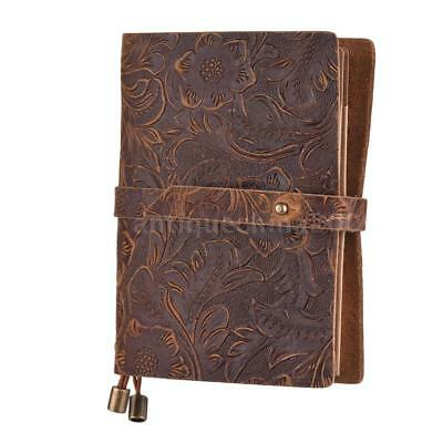 Classic Vintage Leather Lined Blank Pages Journal Diary Notebook Notepad A7O6