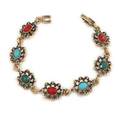 Vintage Inspired Turkish Style Crystal, Acrylic Bracelet In Aged Gold Tone (Gree