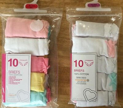 Baby Girl 10 pack Briefs in White or Pastel Colours size 18-24 months
