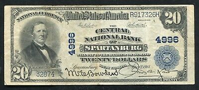 1902 $20 Central National Bank Of Spartanburg, Sc National Currency Ch. #4996