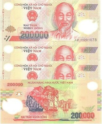 MINT NEW VIETNAM 5 x 200000 = 1Million DONG POLYMER VIETNAMESE CURRENCY-UNC!