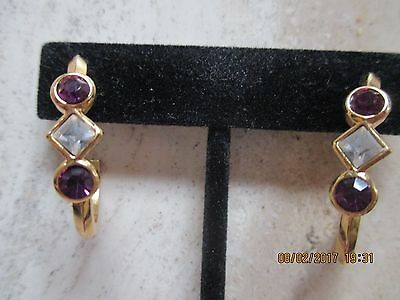 Vtg. Avon*elegant Faux Amethyst Sparkle Earrings W/surgical Steel Post*1992*new