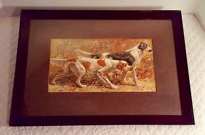 Antique Chromolithograph Print~English Setters~Framed & Matted ca 1870-1900