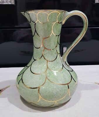 Oldcourt Ware Green Lustre Jug With Handle