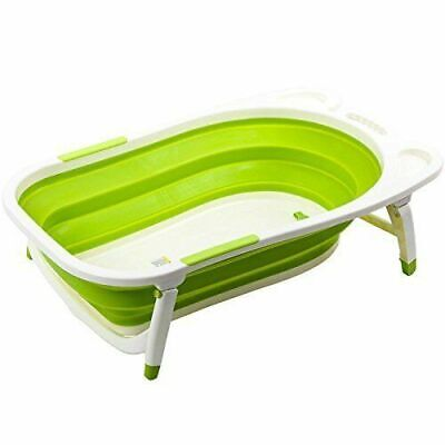 Baby Folding Bathtub, Infant Collapsible Portable Shower Basin with Non-Slip Mat