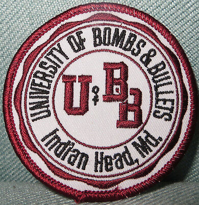 """University of Bombs & Bullets UBB Indian Head Maryland MD Round Patch 3"""""""