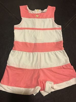 JUICY COUTURE Pink/White Striped Romper Sleeveless Sz 6/12 months Baby Spring