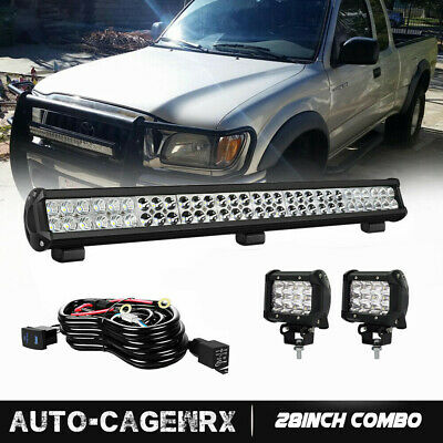 32 inch Curved LED Light Bar + 2x 4in LED Fog Lights Pods Jeep Truck SUV ATV 30