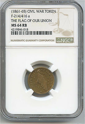 (1861-1865) Civil War Token Flag Of Our Union NGC MS 64 RB Fuld 214/416a