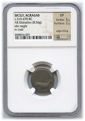 Greek Sicily Acragas Silver Didrachm NGC VF C. 510-470 BC Very Rare Eagle/Crab