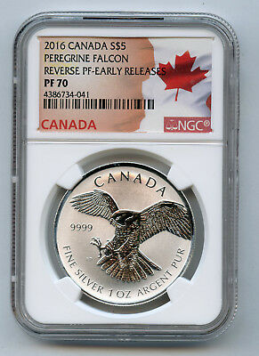2016 $5 Canada Silver Peregrine Falcon Reverse Proof Early Release NGC PF 70