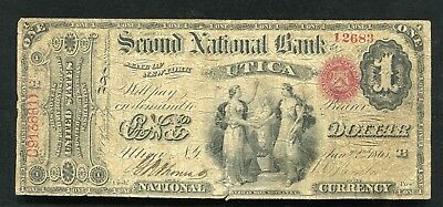 1865 $1 The Second National Bank Of Utica, Ny National Currency Ch. #185 Rare