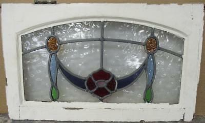 "MID SIZED OLD ENGLISH LEADED STAINED GLASS WINDOW Archtop Floral 23.25"" x 13"""