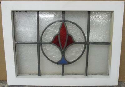"OLD ENGLISH LEADED STAINED GLASS WINDOW Simple Geometric Design 19.75"" x 14.5"""