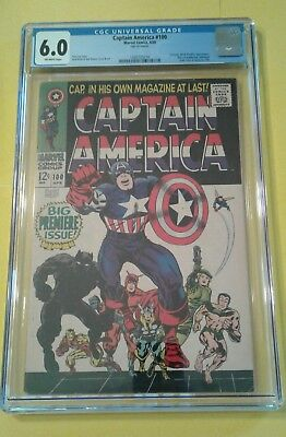 Captain America #100 Cgc 6.0 Fn 1St Issue Of Solo Title Black Panther Jack Kirby