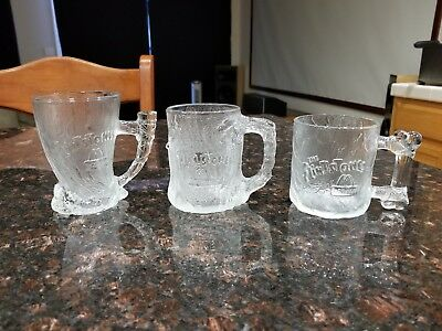 McDonalds RocDonalds 1993 Flintstones Glass Mugs Cups - SET OF 3 - NEVER USED