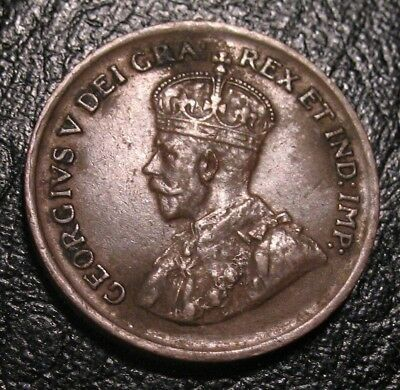 1 cent 1925 Canada one small penny copper King George VI 1c