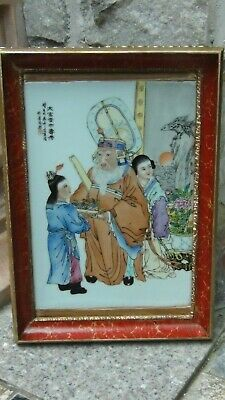 Antique Chinese Handpainted On Porcelain Plaque An Old Man & 2 Young Attendants