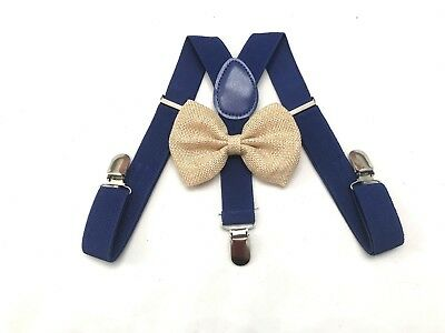 Suspender and Bow Tie Set for Baby Toddler Kids Boys Girls Child USA Seller Blue