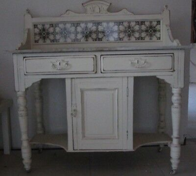Vintage Hall Stand/Dresser with marble top and vintage tiles distressed look