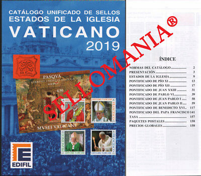Catalogo Edifil 2019 Sellos Vaticano Catalogue Vatican Stamps            Tc20950