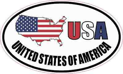 5X3 Oval USA United States of America Sticker Vinyl Patriotic Vehicle Cup Decal